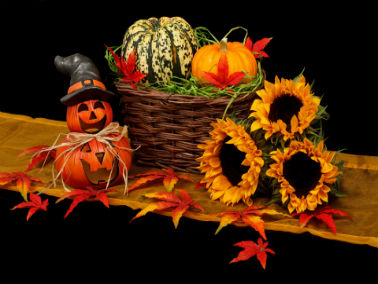 fall décor display with pumpkins, sunflowers and hay